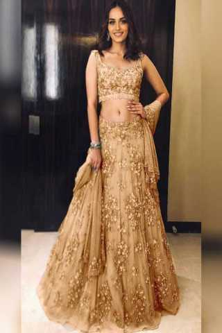 Pretty Beige Colored Silk Fabric Beautiful Indian Style Embroidered Lehenga Choli With Dupatta - LC229