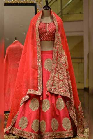 Preferable Red Colored Beautiful Embroidery Work Bridal Lehenga Choli With Dupatta - LC251
