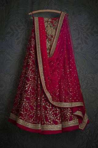Engrossing Pink Colored Wedding Wear Embroidered Lehenga Choli - LC25