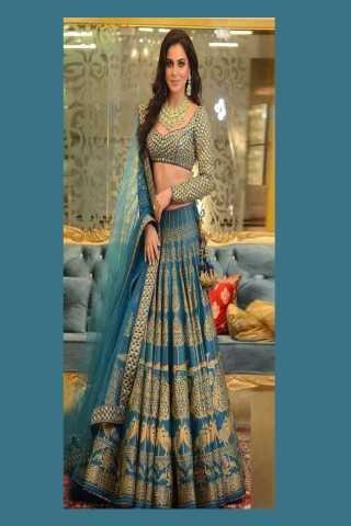 Exclusive Blue Silk Embroidered Semi Stitched Lehenga Choli With Dupatta - LC265
