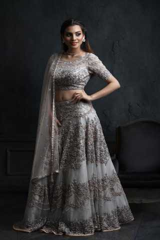 Outstanding Grey Colored Net Fabric Designer Embroidered Lehenga Choli With Dupatta - LC279