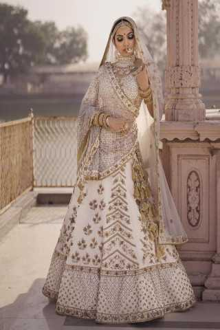 Refreshing Off White Colored Silk Fabric Beautiful Indian Style Embroidered Lehenga Choli With Dupatta - LC281