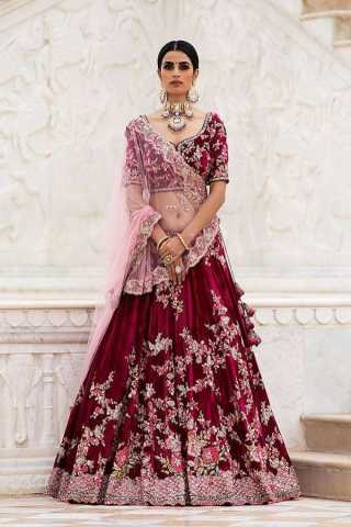 Fantastic Maroon Colored Taffeta Silk Fabric Beautiful Indian Style Embroidered Lehenga Choli With Dupatta - LC283