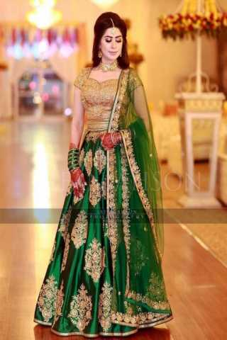 Attractive Green Taffeta Silk Embroidered Partywear Lehenga Choli With Dupatta - LC72