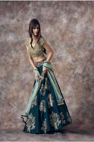 Unique Bottle Green Colored Partywear Designer Embroidered Banglori Silk Lehenga Choli - LC89