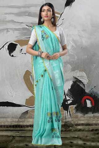 Women Designer Digital Printed Linen Saree - LIN224
