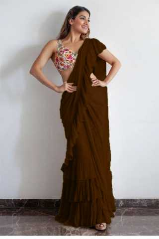 Excellent Coffee Colored Georgette Solid Ruffle Saree For Women