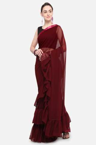 Maroon Georgette Solid Ruffle Partywear Saree With Blouse For Women
