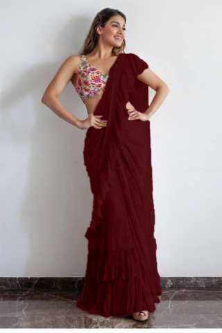 Exceptional Maroon Georgette Solid Ruffle Saree With Blouse For Women