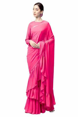 Adorable Pink Georgette Solid Ruffle Saree With Blouse For Women