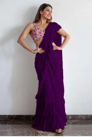 Stunning Violet Color Georgette Solid Ruffle Saree For Women