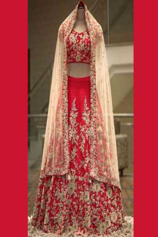 Red Embroidered Attractive Party Wear Lehenga choli bf-2078