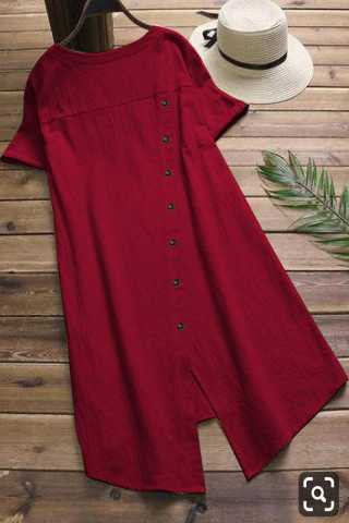 Pure Slub Cotton Red Colored Beautiful Pocket Style Kurti