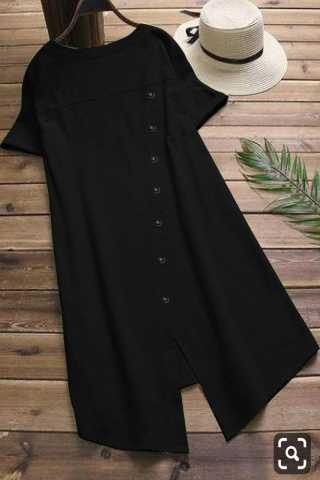 Pure Slub Cotton Black Colored Beautiful Pocket Style Kurti