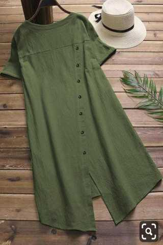 Pure Slub Cotton Russian Green Colored Beautiful Pocket Style Kurti