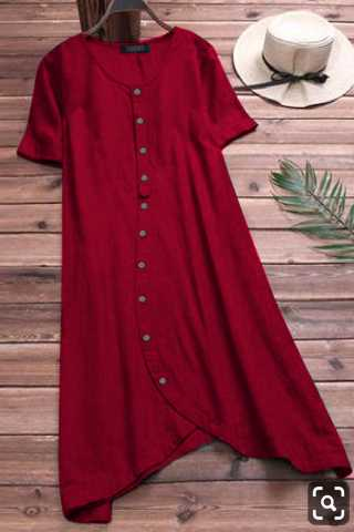 Elegant Pure Slub Cotton Red Colored Pocket Style Kurti
