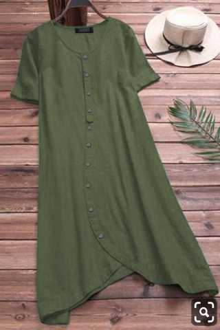 Exclusive Pure Slub Cotton Green Colored Pocket Style Kurti
