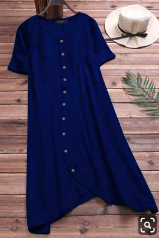 Desirable Pure Slub Cotton Blue Colored Pocket Style Kurti