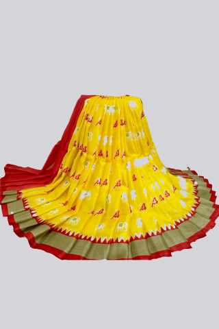 Forever Yellow and Red Color Silk Fabric Saree - MIYLWRD