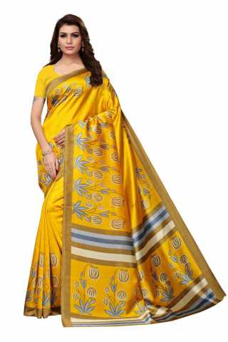 Yellow Colored Festive Wear Kalamkari Style Mysore Silk Saree  MS12