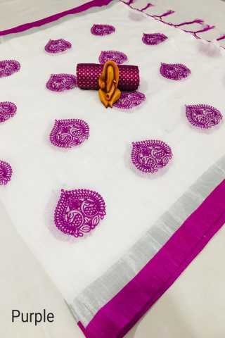 White N Purple Premium linen Febric and lichi color Border with jacaurd Blouse