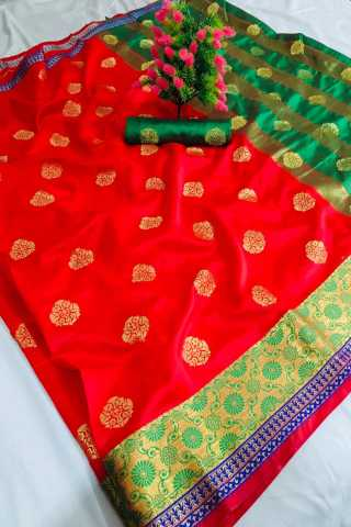 Red Color Pure Soft Banarasi silk Contrast Pallu and Contrast blouse