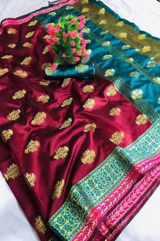 Dark Maroon Color Pure Soft Banarasi silk Contrast Pallu and Contrast blouse