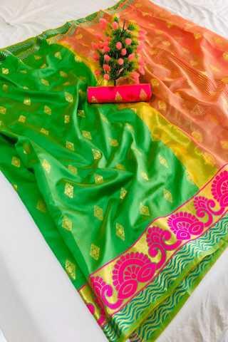 Green Color Pure Soft Banarasi silk Contrast Pallu and Contrast blouse