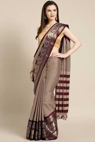 Dull Brown Cotton Aura silk Contrast Pallu And Maching Border Blouse