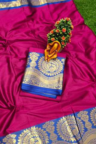 Rani Pink Pure cotton silk saree contrast pallu and Running Border Blouse