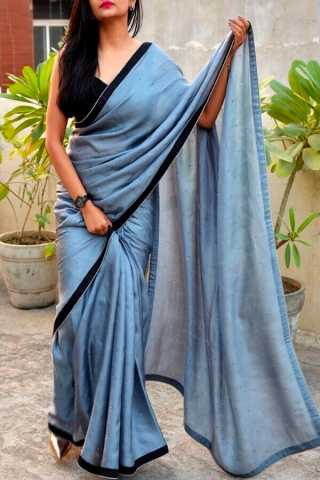 Blue Shade Colored Beautiful Pure Silk Touch Original Fabric Designer Saree With Blouse