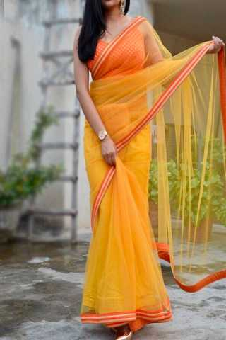 Yellow Colored Beautiful Pure Silk Touch Original Fabric Designer Saree With Blouse