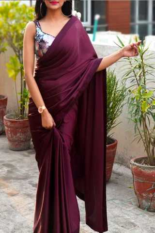 Magenta Colored Beautiful Pure Silk Touch Original Fabric Dark Designer Saree With Blouse