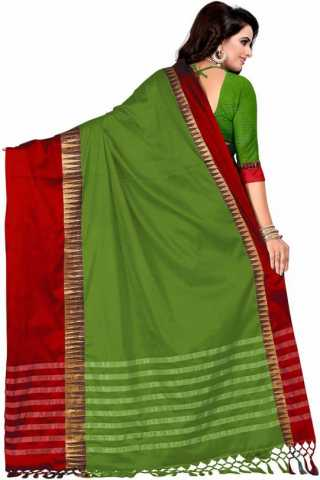 Vibrant Green Color Cotton Silk Red Border Saree - NCSGRNRD