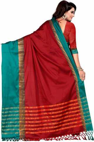 Stimulating Red Color Cotton Silk Green Border Saree - NCSRDGRN