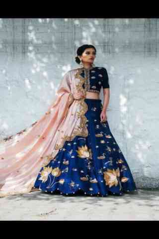Fashionable Blue Color Embroidered Lehenga Choli For Women