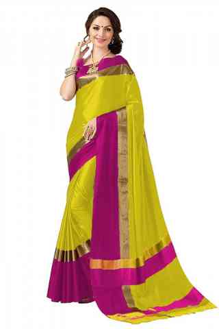 Exclusive Yellow Color Poly cotton Fabric Striped Pattern Saree_CND_PC12