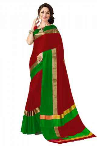Sensational Red Green Color Poly cotton Fabric Striped Pattern Saree_CND_PC16