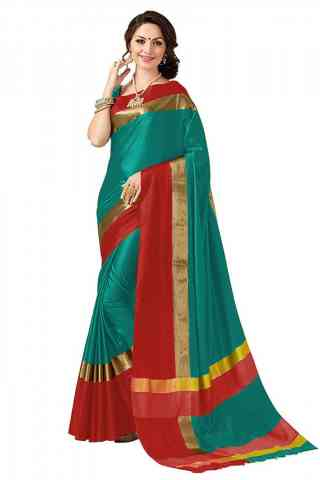 Beautiful Green Color Poly cotton Fabric Striped Pattern Saree_CND_PC1