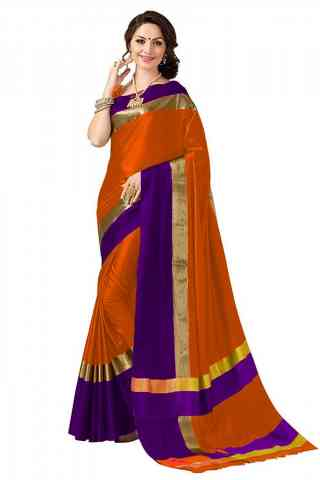 Vibrant Orange Color Poly cotton Fabric Striped Pattern Saree_CND_PC21