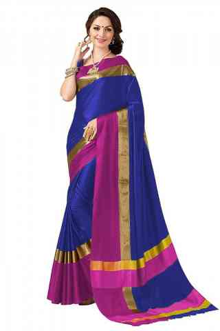 Pretty Blue Color Poly cotton Fabric Striped Pattern Saree_CND_PC2