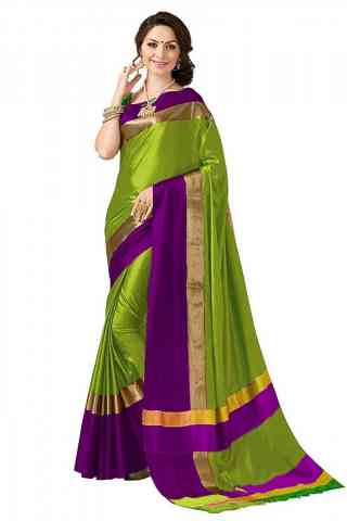 Mind Blowing Green Color Poly cotton Fabric Striped Pattern Saree_CND_PC5