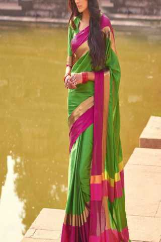 Stimulating Green and Pink Color Poly Cotton Saree