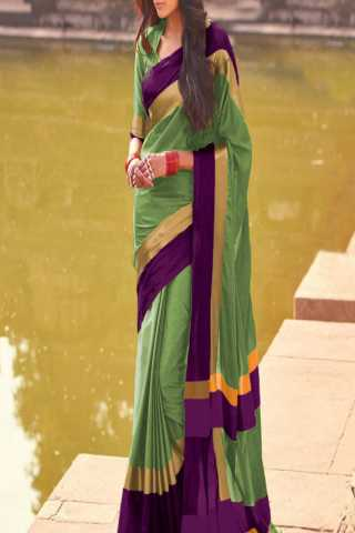 Exquisite Green and Purple Color Poly Cotton Saree
