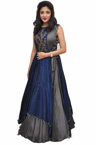 Grey Color Taffeta Silk Party Wear Gown - Poonam Grey