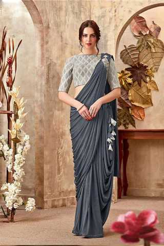 Grey Rangoli Silk Party Wear Saree With Blouse