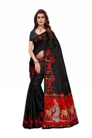 Womens Black Saree Silk Printed Saree - S181729