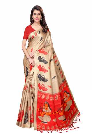 Saree Silk Beige-Red Colored Printed Saree With Unstitched Blouse