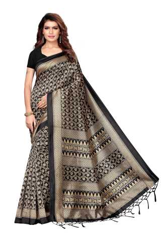 Women Black Mysore Silk Saree With Beautiful Tassel Border - S182631