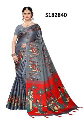 Saree Silk Grey Colored Printed Saree With Unstitched Blouse